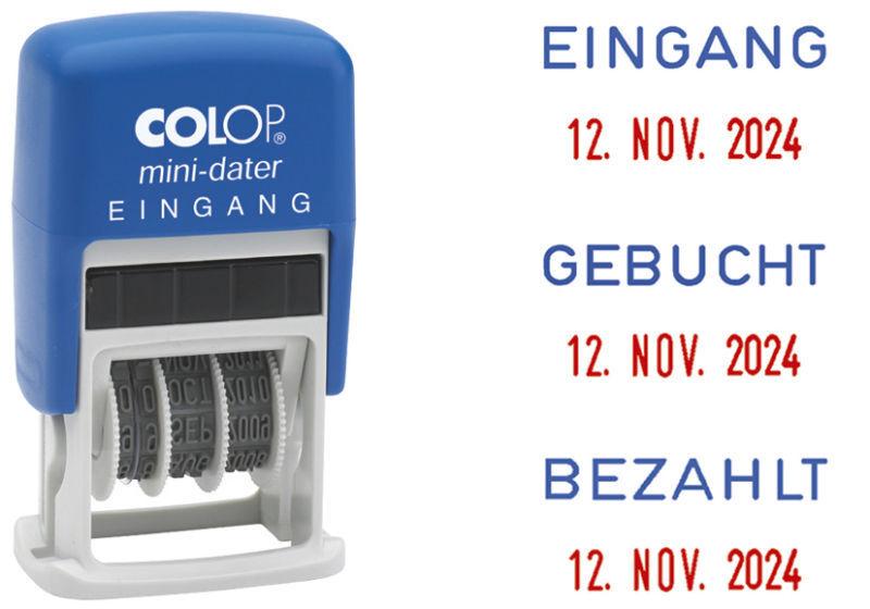 Colop Datumstempel Minidater S160 Wortbandstempel Stempel blau/rot Textstempel