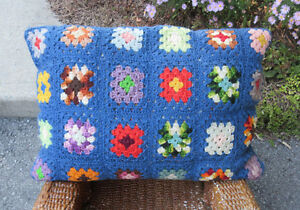 "Hand Crochet Pillow / Coussin - Granny Square Design - 21"" x 14"""