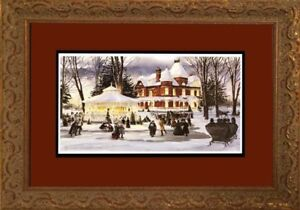 Framed Walter Campbell print Fantasy on ice Christmas gift idea.