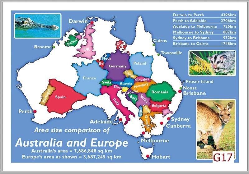 Map Of Europe In Australia.28 Map Postcards Of Australian Vs Europe Comparison G17 Ebay