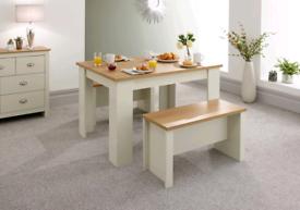 Lancaster Dining Table & Bench Set, 120cm - Cream