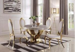 51 Inch Kendall Modern Marble And Gold Dining Table Chairs Are Also Available 190381