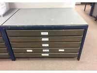 2 x A0 Sized Mid Century Industrial Large 5 Drawer Plan Chest Drawers £375 EACH