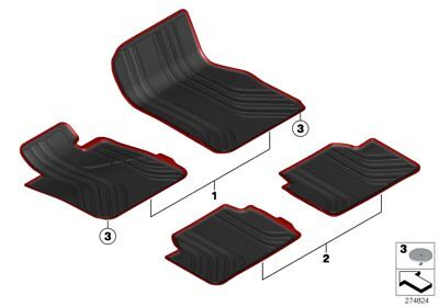 BMW Genuine All Weather Rubber Rear Car Floor Mats F32 51472348158
