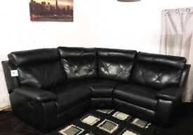 : Real leather Black recliners corner sofa