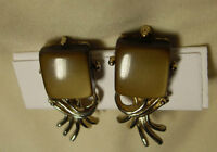 Vintage Clipon Earrings - Brown square stone