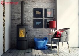 tall modern curved wood burning stove ideal for sun room or conservatory