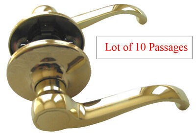 (Lot of 10 Polished Brass Passage Lever Handle Door Lock for Hallway or Closet)