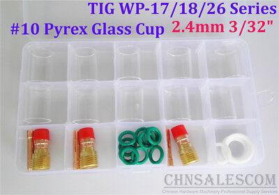 "28 pcs TIG Welding Stubby Gas Lens #10 Pyrex Cup Kit  WP-17/18/26 Torch  3/32"""