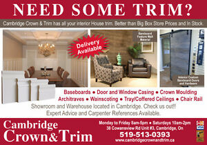 Baseboards, Door and Window Trim, Wainscoting, Crown Moulding