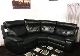 ;; Real leather Black recliners corner sofa