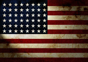 Gritty, grunge style American Flag Canvas Wall Art