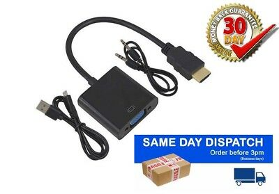 HDMI to VGA Adapter Converter 1080P with 3.5mm Audio Jack Cable for PC