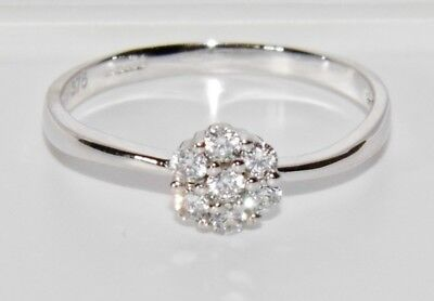 9ct White Gold 0.20ct Daisy Cluster Engagement Ring size N 1/2 - UK Hallmarked