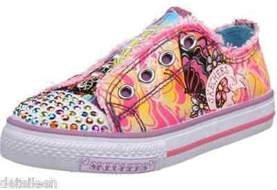 New Girls Skechers Shuffles PIXIE DUST NEON Tattoo Sneaker Shoe Bling SLIP ON 4