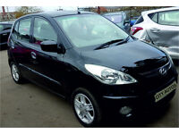HYUNDAI i10 2009 75,400 MILES 1.2 PETROL 5 DOOR HATCHBACK MANUAL BLACK