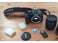 Canon EOS 550D DSLR 18-55mm IS II lens, 3x battery, 8gb SD card, IR remote