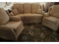 3-Piece Suite comprising 3-seater Sofa and two Armchairs in Old Gold – Very Good Condition