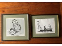 """2x Comedy Comic Peyton Funny Sailing Sketches Prints Framed & Mounted 14""""x14"""""""