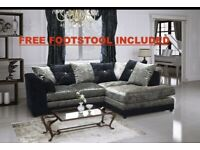 Brand new crushed velvet corner or 3+2 sofa set with free matching footstool🔥😍✅