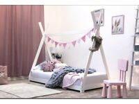 Single Bed White Teepee Tent Canopy Style Bed (3ft)
