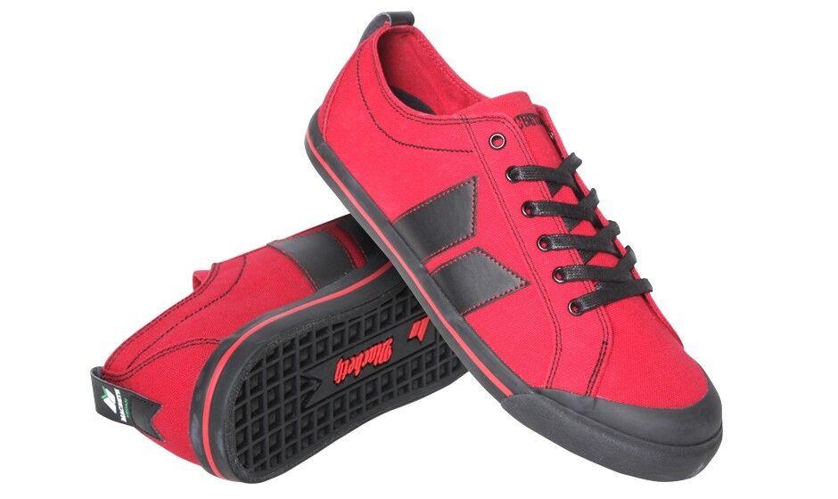 pretty nice d6b06 b28ec Details zu Macbeth Vegan Eliot Schuhe Turnschuhe Sneaker Rot Schwarz Gr. UK  4-11