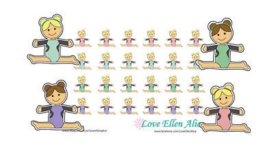 Gymnastics Scrapbook Stickers - Gymnastics Planner sticker /scrapbook 24 stickers 4 for price of 3