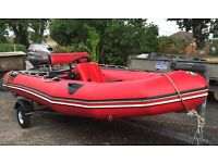 Zodiac Futura S Aluminium deck Boat with trailer plus extras ready to launch