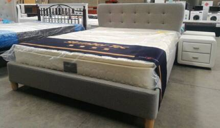 Brand New  Fabric Bed with  Round corner head Frame