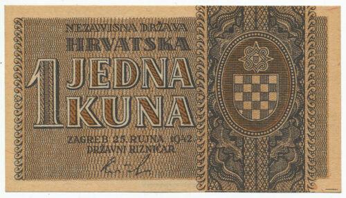 CROATIA, HRVATSKA - 1 Kuna 25.9. 1942. P7, UNC. (C007)