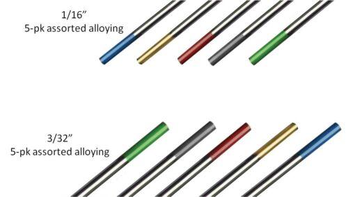 "WeldingCity TIG Welding Tungsten ASSORTED Green-Red-Gray-Gold-Blue 1/16""-3/32"""