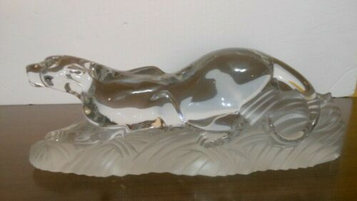 Vintage Large Lenox Panther Cougar Crystal Figurine - Made In Germany