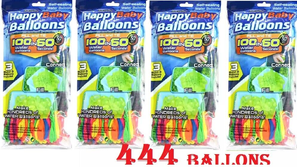 444 Water balloons Instant Easy Fill Self Sealing Water Balloons Bunch 4 PACKS Balls & Balloons