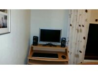 ASSORTED COMPUTER ACCESSORIES - DESK, MONITOR, KEYBOARD, MOUSE, SPEAKERS, WEBCAM