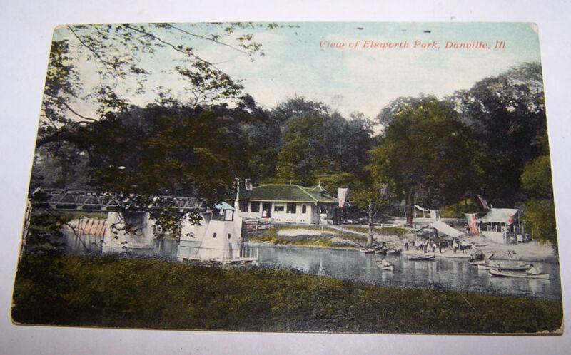 1911 View of Ellsworth Park DANVILLE ILLINOIS Postcard