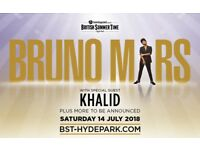 Bruno Mars Tickets Hyde Park London 14/7/18