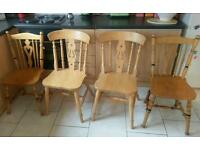 4 strong wooden chairs