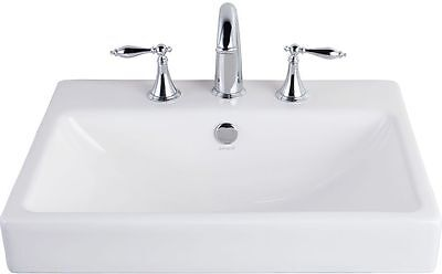 (Jacuzzi Anna Farmhouse White Drop-in Rectangular Bathroom Sink with Overflow New)