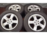 """Genuine 18"""" Mercedes-Benz GL X164 """"5-Spoke"""" alloy wheels with continental winter tyre"""