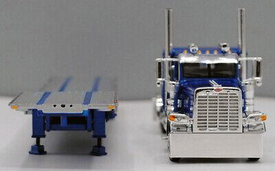 DCP 1/64 SCALE 389 PETERBILT FLAT TOP BLUE, TRANSCRAFT STEPDECK TRAILER #60-0681 2