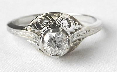 18k White Gold Vintage Art Deco Diamond Solitaire Engagement Promise Ring~Sz 5