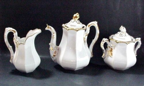 OLD PARIS PORCELAIN, PARIS FRANCE: COFFEE POT, CREAMER & SUGAR WEDDING BAND 1860