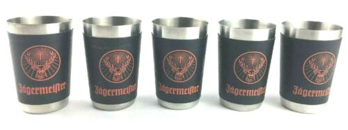 LOT of 5 JAGERMEISTER Black/Orange Leather Wrapped Stainless Steel Shot Glasses