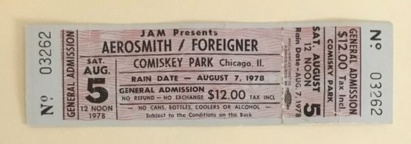Unused 1978 Aerosmith Foreigner AC/DC full ticket from Comiskey White Sox park