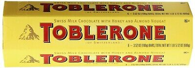 TOBLERONE SWISS MILK CHOCOLATE WITH HONEY AND ALMOND NOUGAT 6 X 100 G BARS by (Love Chocolate Milk)
