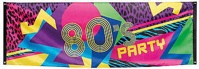80er Jahre Party Banner 220x74cm NEU - Partyartikel Dekoration Karneval Fasching
