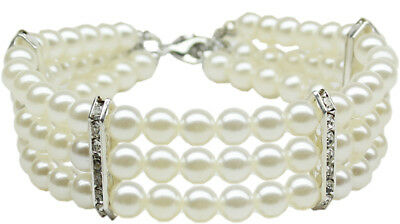 DOG NECKLACE: Gorgeous Three Row Faux Pearls Dazzling Dog Necklace for your Pet