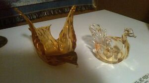 "Two collectible vintage  ""Orange Glass"" Birds"