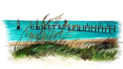 Home Decoration - BEACHSCAPE OCEANSIDE BEACH CAPE DOCK VINYL WINDOW MIRROR DECAL STICKER ART DECOR