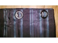 Lined curtains - chocolate and teal stripe - excellent condition plus cushion covers